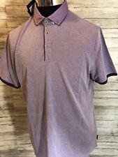 Men's NWT Ted Baker Pique Woven Trims Golf Polo Shirt Large Short Sleeve N5