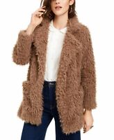 Sage The Label Womens Jacket Brown Small S Penny Lane Shimmer Faux-Fur $89 275