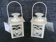 2 x Cream Metal Tealight Lanterns Butterfly In Heart Wedding Home Decoration