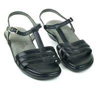SAS Capri Black Snake T-Strap Leather Tripad Comfort Sandals Women's Size 8.5 M