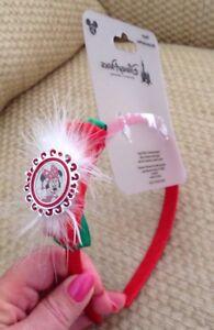 NWT DISNEY PARKS MINNIE MOUSE HOLIDAY HEADBAND CHRISTMAS RED WHITE SPARKLE
