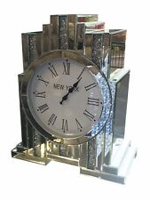 New York Mirrored Crystal Diamante Jewel Gem Large Mantle Clock Empire State New