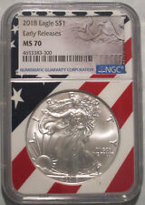 2018 RARE FULL FLAG CORE MINT STATE SILVER EAGLE, NGC MS70 EARLY RELEASE