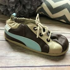 Robeez Tredz Evan 3 Lace Tan Brown Blue Shoes 7 8 20-24 mo Flexible Sole