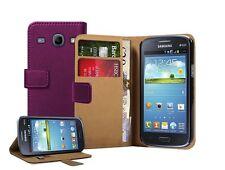 Billetera Morado De Cuero Flip Funda Pouch Para Samsung Galaxy Core gt-i8260