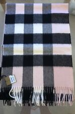 BURBERRY LARGE HALF MEGA CHECK ASH ROSE  PINK 100% CASHMERE SCARF NEW WITH TAGS