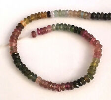 HALF STRAND  MULTICOLOUR TOURMALINE FACETED RONDELLE BEADS, 3 X 2 MM