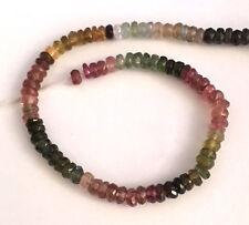 Demi-strand multicolore tourmaline faceted blotter perles, 3 x 2 mm