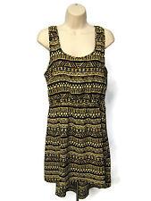 Ambiance Apparel Hi Lo Dress Size L Black Brown Beige U Neck Tribal Print
