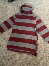 VANS Boys Lightweight Pullover Hoodie Gray Burgandy maroon Size L GUC