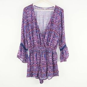 American Eagle Outfitters Floral Bell Boho Sleeve Purple Romper Womens Sz S