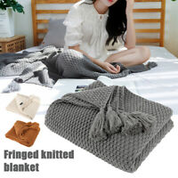 Simple fringe 100% Cotton Throw Blanket Woven Knitted blanket For Sofa/Bed/Home