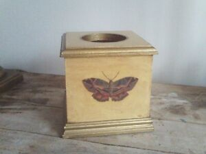 Decorative Square Wooden Tissue Box Cover Hand Painted & Decoupage Butterflies