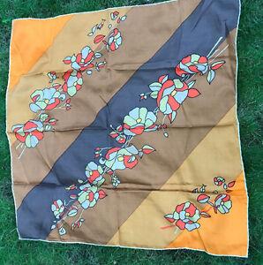 "Vintage Bonwit Teller Scarf Made in Italy 30""  x 30"" Orange Brown Silk"