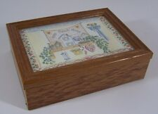 Wood Memory Trinket Box With Hinged Lid and Home Sweet Home Artwork