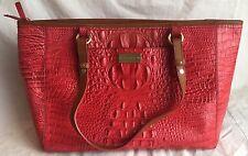 Brahmin Arno Medium Regal Red Tote Bag Croco Leather Shoulder Bag Zip Croc