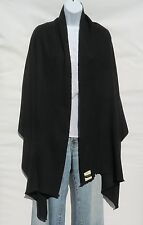 100% Cashmere Shawl/Wrap Hand Loomed Nepal Solid Black 4 Ply Mini Herringbone