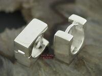 Ohrringe KLAPPCREOLEN Viereck breit Silber925 Ohrschmuck klappscharnier Creolen