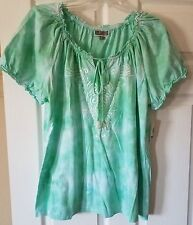 NWT Womens JM Collection Tie-dye Embellished Peasant Top Spring Bud Plus Size 0X