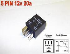 5 Pin 12v 20amp per Auto Micro Relè Commutatore Auto Moto Furgone (Y9)