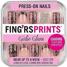 2x FING'RS PRINTS Press-on Nails Pre-Glued Nails, GIRLIE GLAM, 24 NAILS #31039