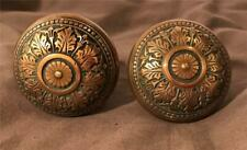 Ornate Victorian Cast Bronze Doorknob Set W/ Spindle 1890s