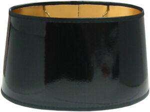 Tisch-Lampenschirm *oval* schwarz Lack D=25cm, innen gold , E27 unten