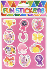 6 Pony Sticker Sheets - Pinata Toy Loot/Party Bag Fillers Kids Horse Pink Girl