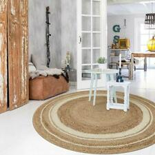 Jute Rug Natural Handmade Round Decor Living Rug Reversible Braided Carpet Mats