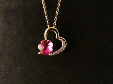 Herz Anhänger 24 Karat Vergoldet Herz Pink Strass Love Damen Halskette