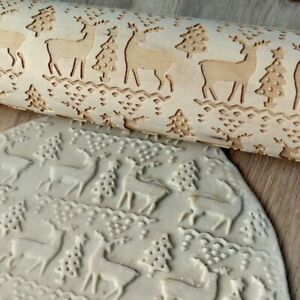 Christmas Rolling Pin Wooden Carving Embossed Rolling Pin Cookie Dough Stick #7