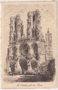 Eau Forte ARTHUR MAYEUR la Cathédrale de Laon circa 1910