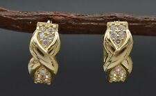 JM194 14K Solid Yellow Gold Ribbon Bow .20ct Created Diamond Huggie Earrings