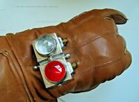 VINTAGE VERY RARE ENGLISH MADE LEATHER MOTORCYCLE GLOVES WITH LIGHT GAUNTLETS