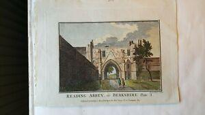 2 MID 19 CENTURY VICTORIAN ENGRAVING PRINTS      READING ABBEY BERKSHIRE