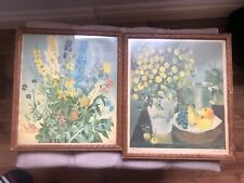 2x Print Coloured Lithograph Doeve 1955 Flowers, Framed Picture After Van Leer