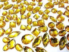 80 Ambre Dorés Facettes Acrylique à coudre, à coller sur cristal strass gemmes