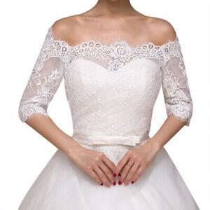 Spitze Braut Carmen Bolero Jacke Jäckchen für Hochzeitskleid Hochzeit ivory BOL7