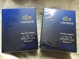2x Lacoste Eau de Lacoste L.12.12 Pour Lui Magnetic EDT 175ml New Sealed Blue