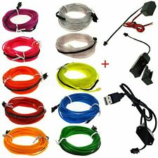 1M - 5M Neon EL Wire LED Light Glow String Strip Rope Tube Deco + USB Controller
