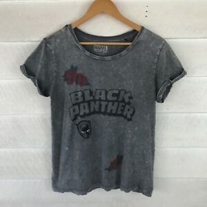 Marvel Black Panther Grey Womens Top Graphic T-Shirt Size S