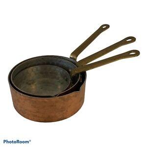 Vintage Copper Pan Measuring Cups Brass Handles 3 Pc Set 1/4c-3/4c