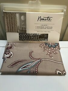 New Nanette Lepore Fabric Shower Curtain Celeste, Flowers, Paisley, With Hooks