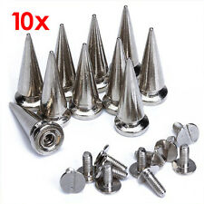 10pcs 25mm Spike Cone Screwback Silver Bullet Punk Rivet Leather Bags Craft T1