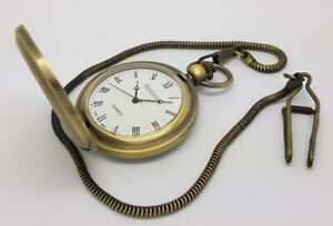 Antonio Ladies Antique Style Brozen Full Hunter Pocket Watch With Chain A5