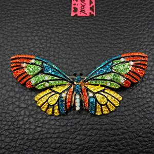 Women's Colorful Crystal Enamel Cute Butterfly Betsey Johnson Brooch Pin
