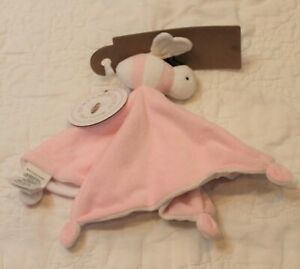 NWT Burt's Bees Toys Pink Bee LOVEY SECURITY BLANKET 100% Organic Cotton
