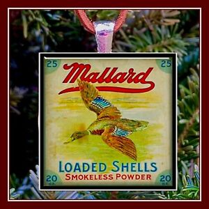 Vintage Mallard Shot Gun Shell 20 Gauge Shell Box Photo Ornament Pendant Gift