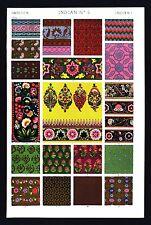1868 Owen Jones Ornament Print Indian No 4  Fabric Design & Vase Painting India