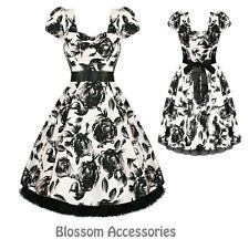 RKH26 Hearts & Roses Retro Floral Rockabilly Dress 50's Evening Vintage Swing